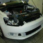 VW Polo ламинация переднего бампера.